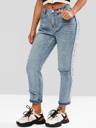 WOMEN High Rise Frayed Ripped Jeans - Blue M