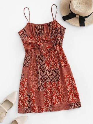 WOMEN Tiny Floral Patchwork Print Cinched Cami Dress - Red L