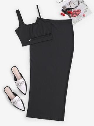 WOMEN Cutout Crop Top And Bodycon Long Skirt Set - Black L