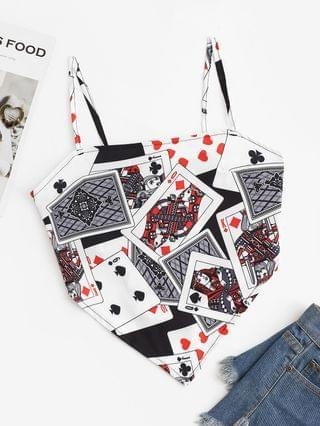 WOMEN Playing Poker Card Knotted Napkin Cami Top - White M