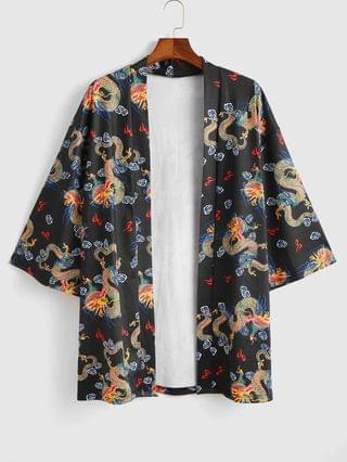MEN Open Front Dragon Print Kimono Cardigan - Black S