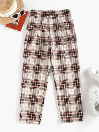 WOMEN High Waisted Plaid Tapered Pants - Light Coffee Xl