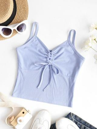WOMEN Ribbed Cropped Cinched Front Cami Top - Light Blue L