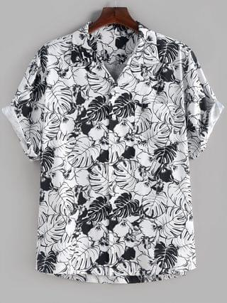 MEN Palm Leaves Flower Print Monochrome Pocket Shirt - White S