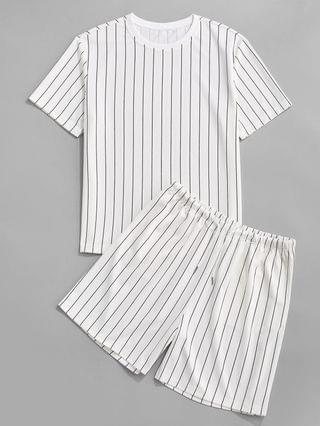MEN Stripe T-shirt And Shorts Two Piece Set - White S