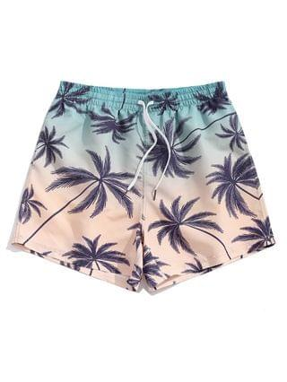 MEN Palm Tree Ombre Print Vacation Shorts - Baby Blue 2xl