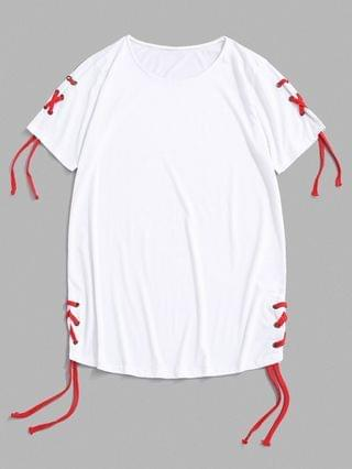 MEN Solid Lace Up Round Hem Casual T-Shirt - White L