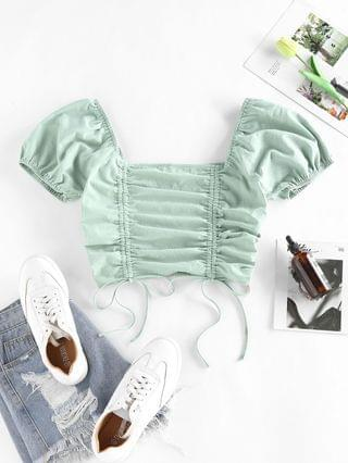 WOMEN Cinched Smocked Puff Sleeve Crop T Shirt - Light Green S