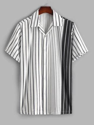 MEN Silky Colorblock Vertical Striped Casual Shirt - White Xxl