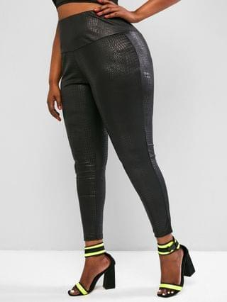 WOMEN Plus Size Coated Snakeskin Leggings - Black 5xl