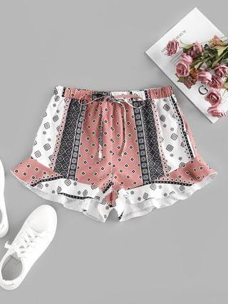 WOMEN Ethnic Flower Geo Ruffle Wide Leg Shorts - Multi S