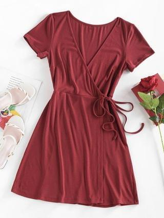 WOMEN Ribbed Plunge Tied Wrap Dress - Deep Red L