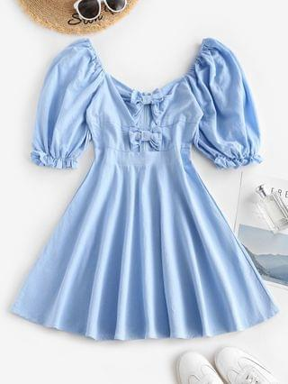 WOMEN Bowknot Puff Sleeve Mini Dress - Light Blue S