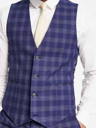 wedding skinny suit vest in blue and gray bold check