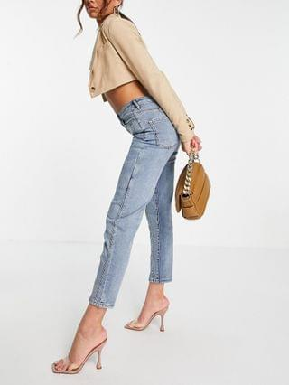 WOMEN ASYOU slim stretch mom jean in washed light blue