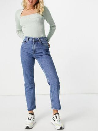 WOMEN & Other Stories Favorite organic cotton straight leg mid rise cropped jeans in mouse gray