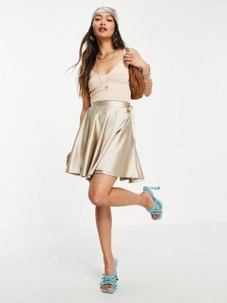 WOMEN Flounce London cropped long sleeve satin shirt and wrap mini skirt set in champagne