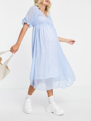 WOMEN Maternity shirred bodice maxi tea dress in blue and white gingham