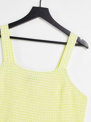 WOMEN Yours Exclusive shirred cami top in yellow & white gingham