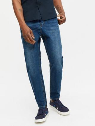 New Look tapered jeans in mid blue wash