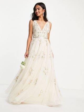 WOMEN Needle & Thread Bridal Petunia maxi dress with floral embroidery in ivory