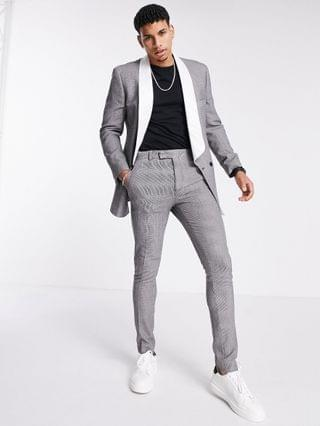 slim puppytooth check tuxedo suit with contrast lapel
