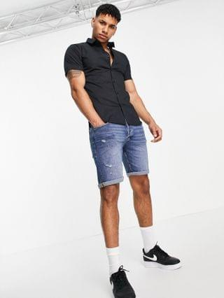 New Look short sleeve muscle fit shirt in black
