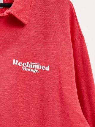 MEN Reclaimed Vintage Inspired unisex rugby sweatshirt with chest logo print in red