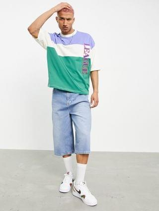 oversized t-shirt in color block with text print
