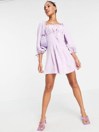 WOMEN Missguided skater dress with balloon sleeve in lilac