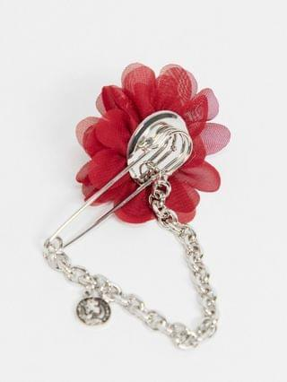 brooch with corsage and safety pin design in burnished silver tone