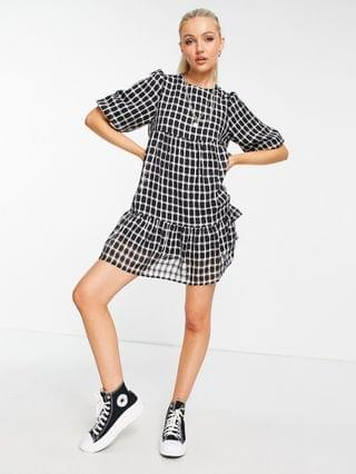 WOMEN New Look puff sleeve smock mini dress in black check