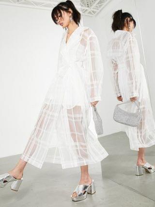 WOMEN EDITION organza plaid trench coat in white