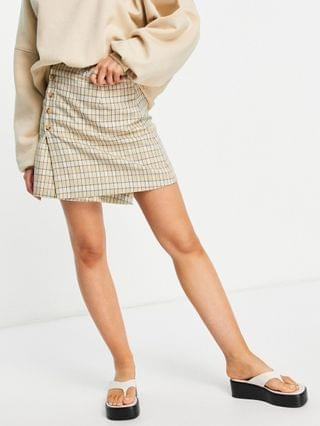 WOMEN Fashion Union mini a-line skirt with buttons in vintage check sets