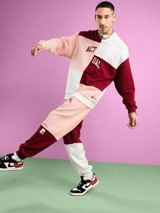 Actual set relaxed sweatpants with printed logo and color blocking