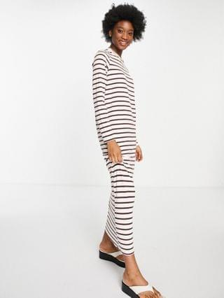WOMEN long sleeve maxi t-shirt dress in pink and brown stripe