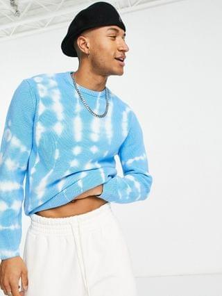 knit ribbed coordinating sweater with tie-dye effect in blue