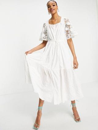 WOMEN French Connection Cecily broderie dress in white