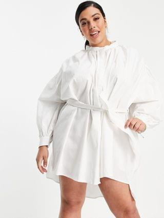 WOMEN In The Style Plus x Lorna Luxe exaggerated cape sleeve shirt dress in white
