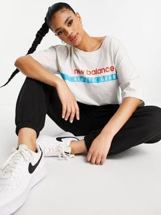 WOMEN New Balance label logo T-shirt in gray