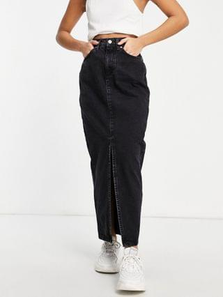WOMEN Petite organic denim '90s maxi skirt in washed black