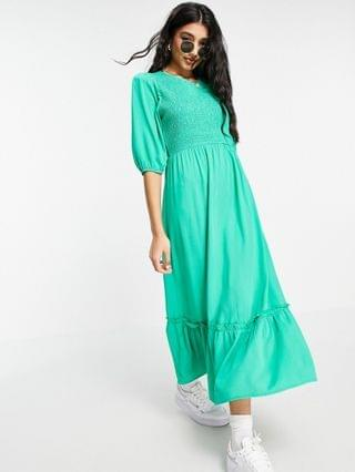 WOMEN New Look crew neck shirred midi dress in bright green