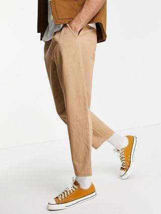 Vintage Supply cotton twill joggers in sand