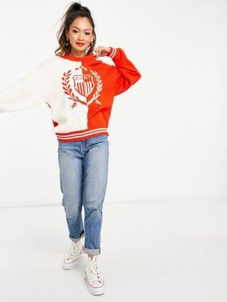 WOMEN GANT relaxed sweater with embroidered crest logo in white and red
