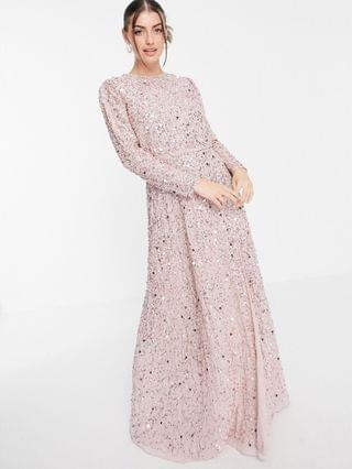 WOMEN Maya all over embellished maxi dress with slit in frosted pink