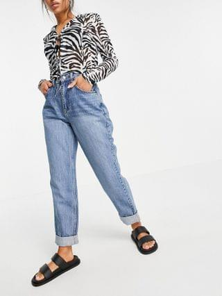 WOMEN Petite high rise 'Slouchy' mom jeans in midwash