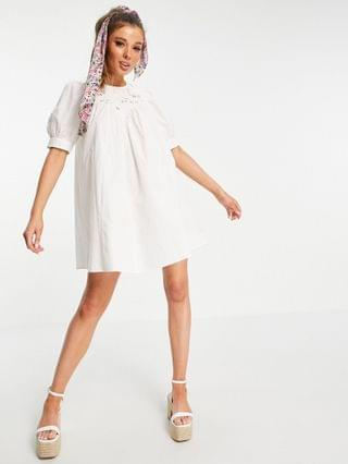 WOMEN mini swing dress with broiderie cutwork detail in white
