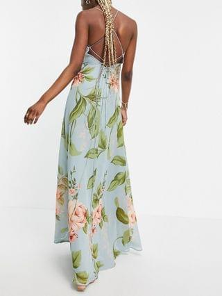 WOMEN Tall cami wrap maxi dress with lace up back in large blue floral print