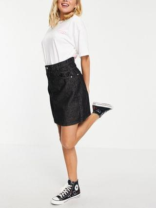 WOMEN Wednesday's Girl mini skirt in black wash denim