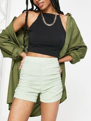 WOMEN Club L London ruched detail body-conscious short in sage